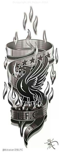Liverpool FC Arm/leg Tattoo design concept by Liverpool Fc Badge, Liverpool Fc Champions League, Liverpool Tattoo, Anfield Liverpool, Liverpool Football Club, Liverpool Bird, Chelsea Liverpool, Tattoo Ideas, Tattoo