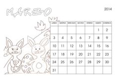 Marzo 2014 - calendario per bambini da colorare
