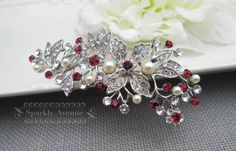 Bridal Hair Comb Red Hair Comb Flower Hair Piece by SparklyAvenue