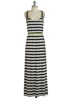 Social Networker Dress. Impress at a casual meet-and-greet in the cool stripes of this jersey-knit maxi dress!  #modcloth