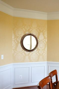 Tone on tone wall finish with Royal Design Studio Uzbek Suzani Wall Stencils in dining room