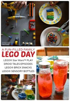 A Fun Filled Family LEGO Day - With LEGO Star Wars, LEGO Brick Snacks, and DIY LEGO Sensory Bottles at B-Inspired Mama - Sponsored - Fun Activities for a LEGO Themed Party, Too!