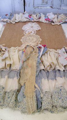 Distressed Burlap fabric table runner petticoat farmhouse ruffled linen handmade shabby cottage home decor anita spero