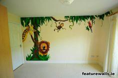 mural for kids room monkey   Childrens Jungle Murals