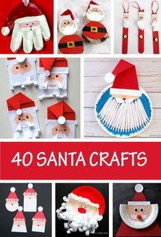 40 Santa Crafts For Kids – Easy And Cute Christmas Crafts Santa crafts for kids to make this Christmas. Paper Santa, paper plate Santa, Santa decorations and easy Santa crafts for toddlers ans preschooler Santa Crafts For Kids To Make, Christmas Arts And Crafts, Christmas Crafts For Kids To Make, Christmas Activities For Kids, Preschool Christmas, Kids Christmas, Holiday Crafts, Art For Kids, Christmas Paper