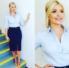 Holly Willoughby looks amazing in a tight blue shirt and denim pencil skirt on This Morning
