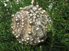 Old CHRISTMAS Tree BALL ORNAMENT Rhinestones Jewelry EXQUISITE All Original