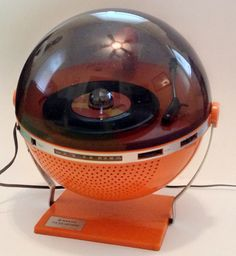 This has to be one of the coolest things ever!!!  RARE Vtg Sanyo Orange rpt 1200 Phonosphere Space Age Retro Disco Radio LP Player