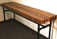 rustic/industrial bench... DIY with butcher block & galvanized pipes??