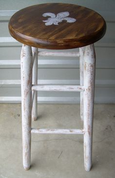 Fleur de Lis Upcycled Bar Stool Shabby Chic.