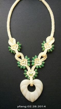 Soft and beautiful ! Ivory macrame necklace with green aventurine and yellow jade