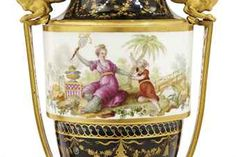 A PAIR OF ORMOLU-MOUNTED SEVRES (HARD PASTE) PORCELAIN BLACK-GROUND CHINOISERIE VASES (VASES 'A BANDEAU')