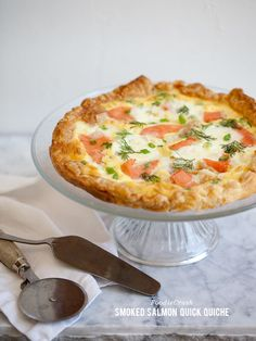 Smoked Salmon Quick Quiche---- 1 sheet frozen puff pastry, thawed, 3 eggs, 1 cup half and half, 4 ounces smoked salmon, chopped in large pieces, ¼ cup crème fraiche, 1 tablespoon fresh dill, divided, 2 tablespoons chopped green onion, divided, ½ teaspoon salt, 1/8 teaspoon Tabasco. THIS WHOLE SITE IS GORGEOUS.
