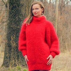 Hand Knitted Mohair Sweater SUPERTANYA Ribbed RED Turtleneck Handmade Jumper #SuperTanya #TurtleneckMock
