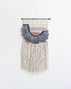 Thick Grey Fringe Weaving Woven Wall Hanging by hellohydrangea Weaving Wall Hanging, Weaving Art, Tapestry Weaving, Loom Weaving, Hand Weaving, Wall Hangings, Mason Jar Crafts, Mason Jar Diy, Easy Crafts To Sell