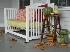 Baby crib turned into bench... a nice way to bring a touch of B into the Library!