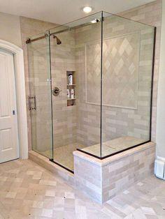 90 Insane Rustic Farmhouse Shower Tile Remodel Ideas - nancey news Modern Bathroom, Small Bathroom, Dyi Bathroom, Bathroom Showers, Glass Showers, Bathroom Vintage, Bathroom Colors, Bathroom Styling, Shower Sliding Glass Door