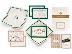 invitations with emerald borders