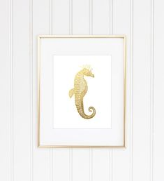Seahorse Print, Seahorse Art, Sealife Wall Art, Faux Gold Foil, Faux Gold Leaf Art, Office Decor, Home Decor, Nautical Wall Art