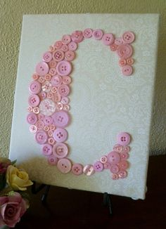 """Baby Girl Nursery Button Monogram Letter Art -- Pink Button Letter on Ivory Paisley 8""""x10"""" Canvas"""