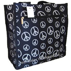 Black White Hippie Peace Sign Shopping Tote Bag Handbag - $5.97