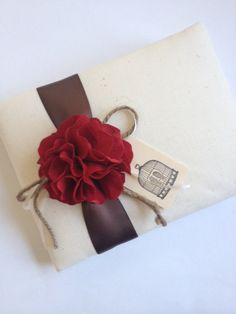Rustic Wedding Guest Book, Red Hydrangeas, Chocolate Brown Ribbon, Ivory Ribbon and Rope Bow, Hand-stamped Love Birds - by CoutureLife on Etsy