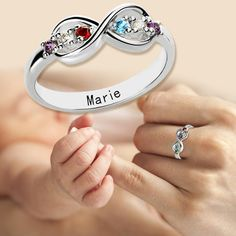 Silver Personalized Birthstone Infinity Ring with name or words engraving inside.It's particularly beautiful gift for Mothers,made to order.