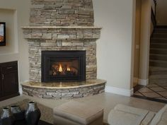 rounded fireplace