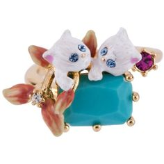 Les Nereides Dazzling Discretion Duo Of White Cats On Stone Adjustable... ($105) ❤ liked on Polyvore featuring jewelry, rings, pink, cat jewelry, 14 karat white gold ring, pink ring, adjustable cat ring and pink flower ring
