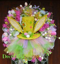 Deco Mesh TUTU BUNNY EASTER Wreath by decoglitz on Etsy