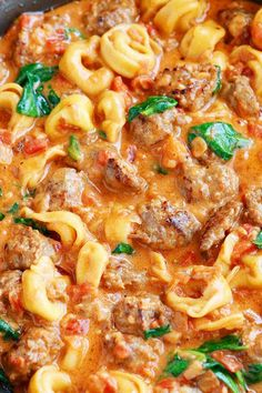 Italian Sausage Tortellini ~ Bursting with rich, fresh flavors. A decadent, creamy tomato sauce surrounds pillowy soft, cheesy tortellini and bold, seasoned Italian sausage. Pasta Recipes, Dinner Recipes, Cooking Recipes, Cheese Tortellini Recipes, Cooking Ribs, Cooking Games, Italian Dishes, Italian Recipes, Tortellini Pasta