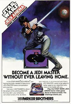 Star Wars Jedi Arena video game from Parker Bros for the Atari 2600 Retro Gaming Ad #ads #retrogaming #oldschool