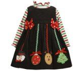Amazon.com: Bonnie Jean NEWBORN / INFANT 3M-24M 2-Piece RED Jeweled Holiday Tree APPLIQUE CORDUROY JUMPER Holiday Party Dress Set: Baby