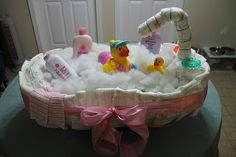 Diaper Tub!! since I already did the diaper cake, I am definitely going to have to do this for my next shower!