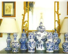 Blue & White jars and lamps grouped together makes for a lovely accent in any room.