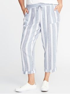 Old Navy Striped Plus-Size Linen-Blend Cropped Soft Pants Summer Wear, Summer Outfits, Summer Clothes, Cropped Pants, Harem Pants, Soft Pants, Plus Size Kleidung, Shop Old Navy, Striped Linen