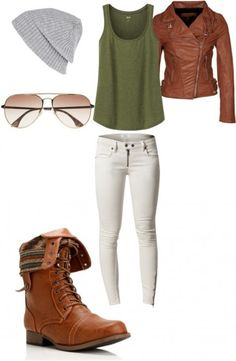 Brown leather jacket, white skinny jeans, brown combat boots, grey beanie - Shoes and beauty