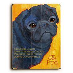 Black Pug by Artist Ursula Dodge Wood Sign