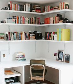 Fascinating White Home Office Design Ideas with Ample Storage in The Corner and Desk