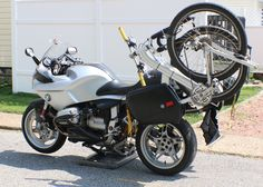 Custom made mt. bike mount for BMW motorcycle. Mt Bike, Bicycle, Bike Mount, Yamaha, Two By Two, Wheels, Bmw, Motorcycle, Vehicles
