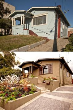 Inspirational before and after landscaping and exterior home renovation photos.