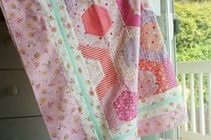 Posy quilt top using Lori Holts Hexie Half rulers, by nanaCompany