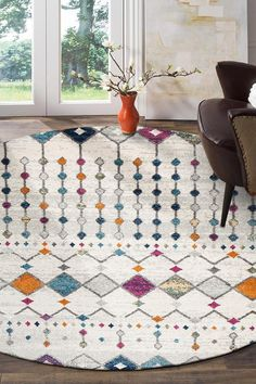 $98 Peggy Tribal Morrocan Style Multi Round Rug