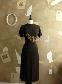 Vintage 193040s Show Stopping Dress Set by VeryVintageStore, $124.00