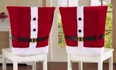 Red Santa Claus Suit Holiday Dining Chair Covers Christmas Kitchen Accent New Kitchen Chair Covers, Dining Chair Covers, Christmas Kitchen, Santa Christmas, Christmas Chair Covers, Homemade Christmas Decorations, Santa Decorations, Santa Suits, Collections Etc