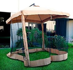 Ship from USA Deluxe Outdoor Patio Hanging 10 Offset Umbrella w Mesh Sun Shade Gazebo Beige ITEM NOE8FH4F85447360 ** To view further for this item, visit the image link.