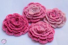 LANKAHELVETTI: Virkatun ruusun ohje Crochet Necklace, Knitting, Rose, Projects, Blog, Accessories, Henna, Crocheting, Crochet Stitches