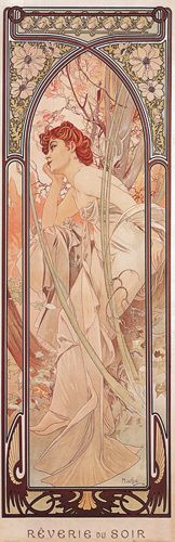 Evening- Love Mucha's art-nuveau style!