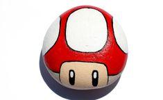 Hand Painted Rock  Super Mario Mushroom by CarafirasCreations