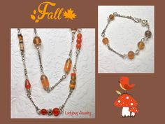 Mixed glass beads creating a fall statement necklace and bracelet set Ladybug Jewelry, Bracelet Set, Glass Beads, Drop Earrings, Create, Fall, Color, Autumn, Bangle Set